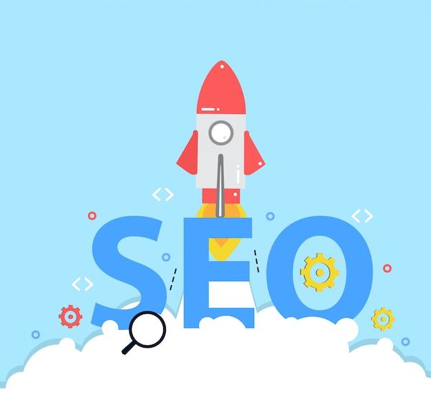 Nuevo proyecto empresarial, cohete de inicio, concepto de optimización de motores de búsqueda seo