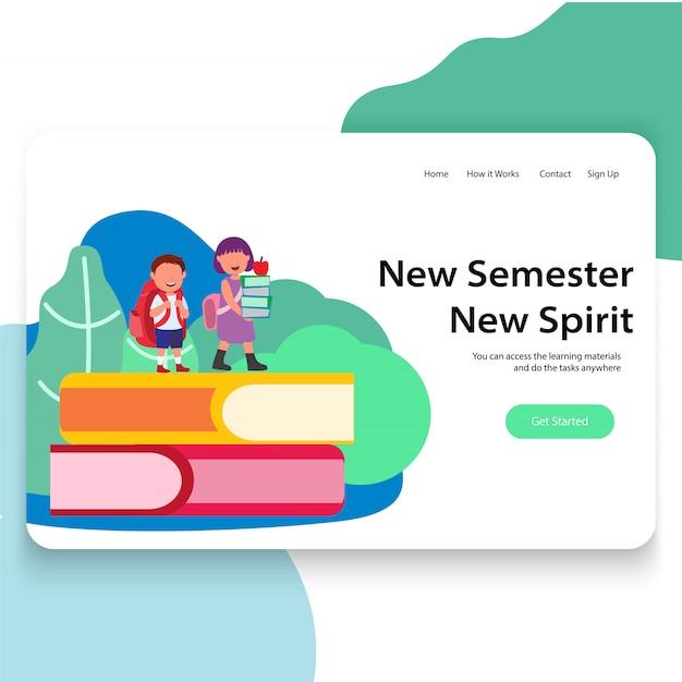 Nuevo semestre promovido siguiente grado ilustración diseño de interfaz de usuario de la página de inicio