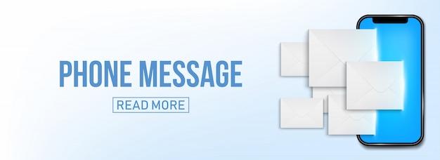 Nuevo sms o notificación por correo electrónico en el banner del teléfono móvil