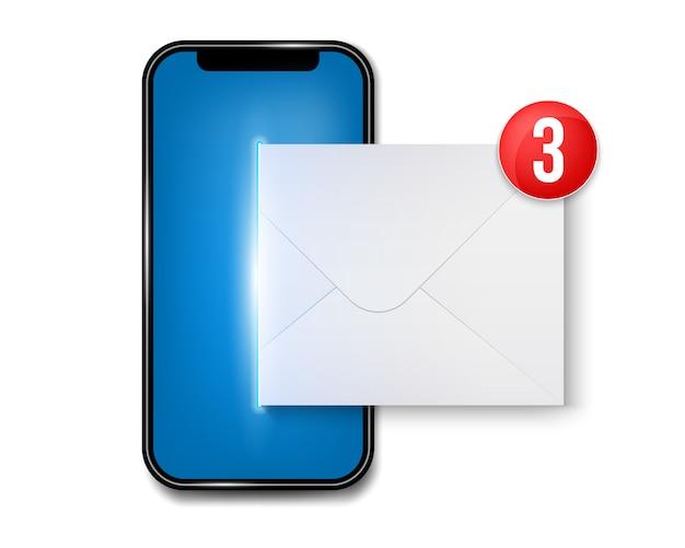Nuevo sms o notificación por correo electrónico en el teléfono móvil.