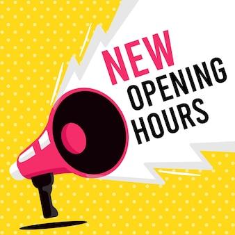 Nuevo tema de signo de horario de apertura