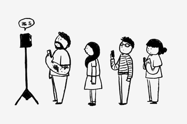 Nuevo vector de dibujos animados normal, escaneo de temperatura corporal