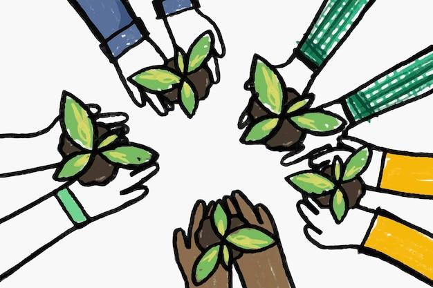 Nuevo vector de doodle de hobby normal, concepto de reforestación