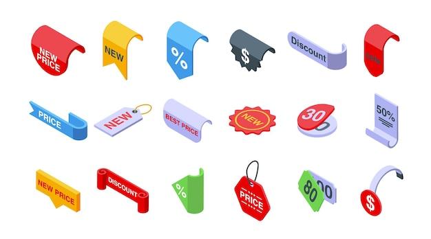 Nuevos iconos de precios establecen vector isométrico. descuento de venta