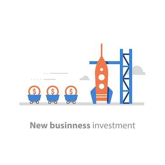 Nuevos negocios, concepto de puesta en marcha, atraer dinero, recaudación de fondos, lanzamiento de cohetes, capital de riesgo