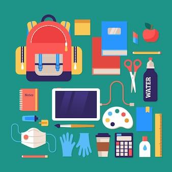 Nuevos útiles escolares normales para el regreso a clases