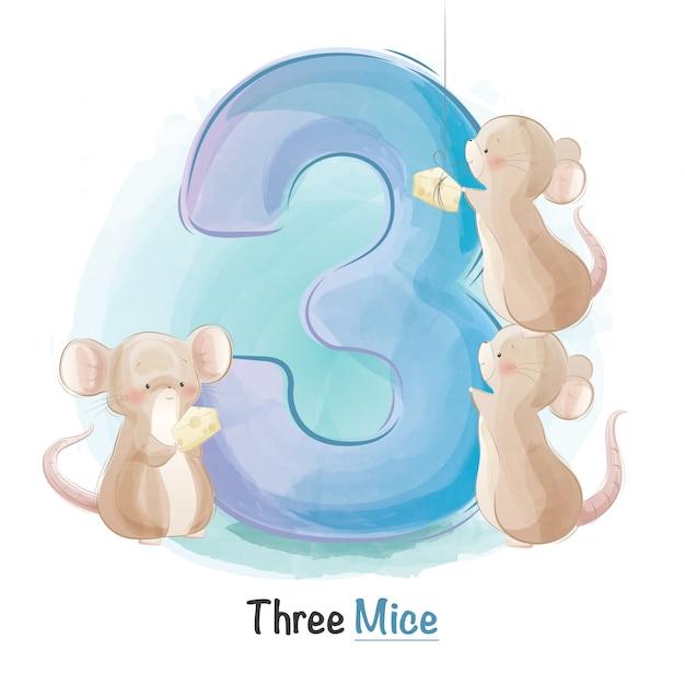 Numeración animal linda para niños