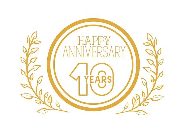Número 10 para emblema o insignia de celebración de aniversario