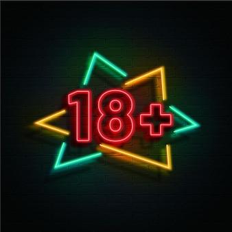 Número 18+ en estilo neón