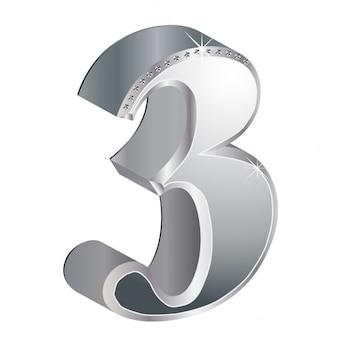 Número 3, 3d, metálico