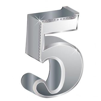 Número 5, 3d, metálico