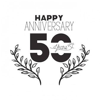 Número 50 para emblema o insignia de celebración de aniversario