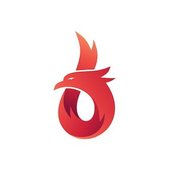 Número 6 eagle shape logo vector