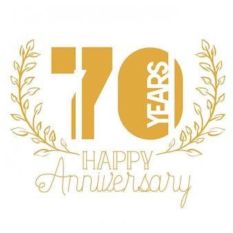 Número 70 para emblema o insignia de celebración de aniversario