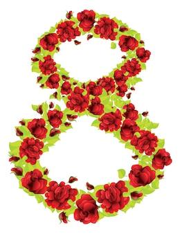 Numero 8 de rosas