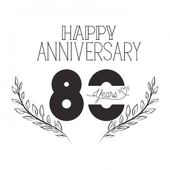 Número 80 para emblema o insignia de celebración de aniversario