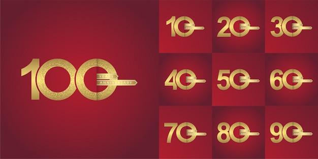 Número aniversario moderno logotipo