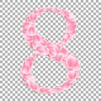 Número arábigo ocho, de pétalos de rosa.