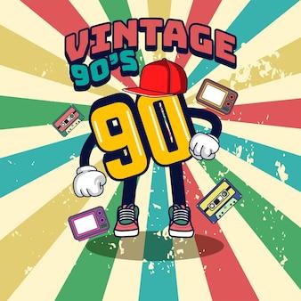 Número carácter vintage ilustración de los años 90