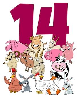 Número catorce con animales de granja de dibujos animados