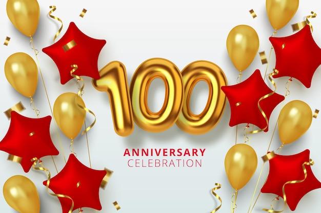 Número de celebración de aniversario 100 en forma de estrella de globos dorados y rojos. números de oro 3d realistas y confeti brillante, serpentina.