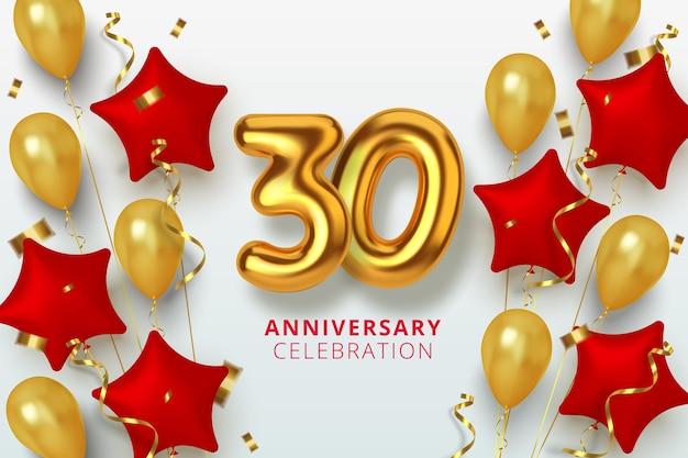 Número de celebración de aniversario 30 en forma de estrella de globos dorados y rojos. números de oro 3d realistas y confeti brillante, serpentina.