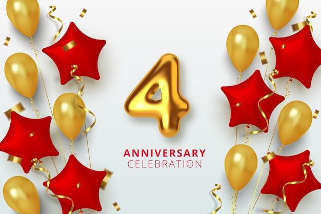 Número de celebración de aniversario 4 en forma de estrella de globos dorados y rojos. números de oro 3d realistas y confeti brillante, serpentina.