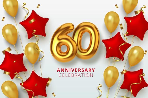 Número de celebración de aniversario 60 en forma de estrella de globos dorados y rojos. números de oro 3d realistas y confeti brillante, serpentina.