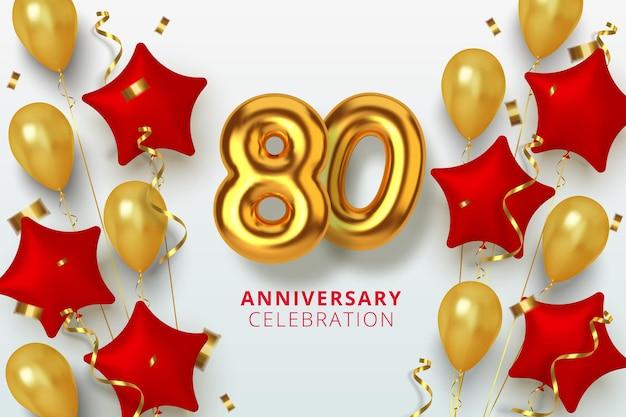 Número de celebración de aniversario 80 en forma de estrella de globos dorados y rojos. números de oro 3d realistas y confeti brillante, serpentina.
