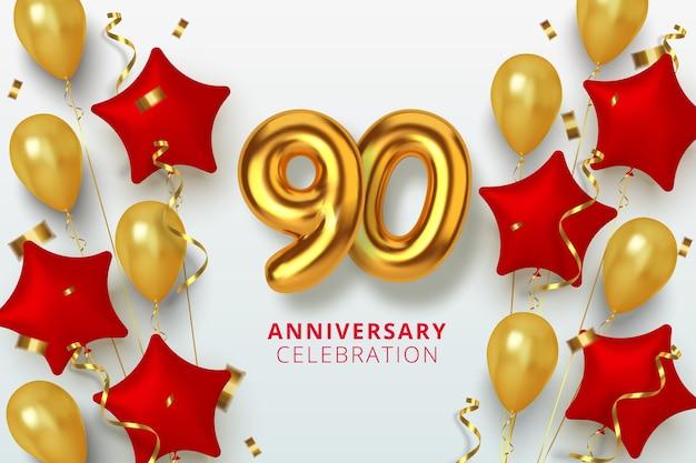 Número de celebración de aniversario 90 en forma de estrella de globos dorados y rojos. números de oro 3d realistas y confeti brillante, serpentina.