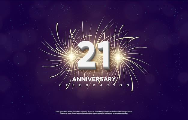 El número de celebración de aniversario con el número 21 es blanco con fuegos artificiales detrás