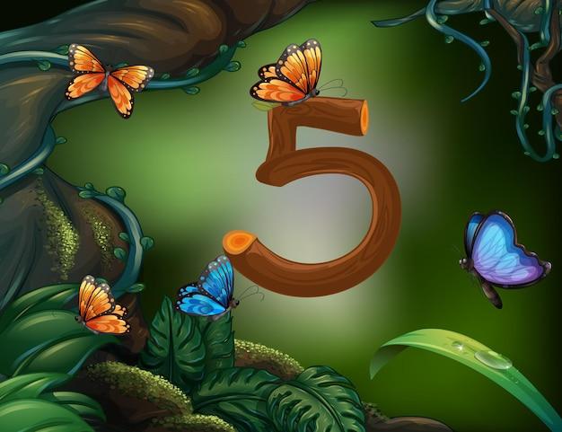 Número cinco con 5 mariposas en el jardín.
