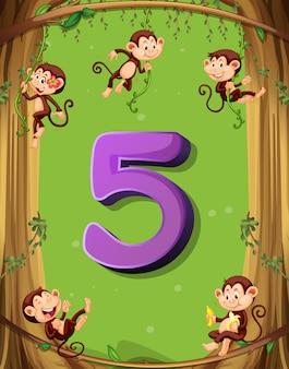 Número cinco con 5 monos en el árbol.