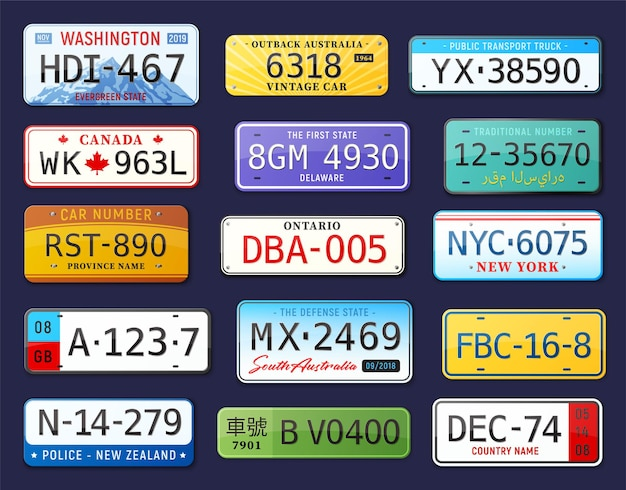 Número de coche realista con placas de matrícula de coche.