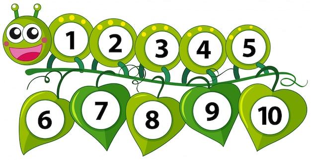 Número de conteo con oruga verde