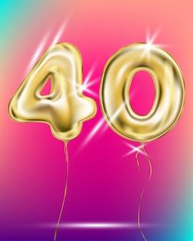 Número cuarenta globo de lámina de oro en gradiente