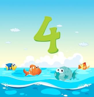 Número cuatro con 4 peces en el océano.
