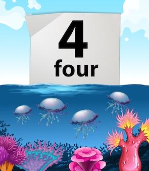 Número cuatro y medusas bajo el agua.