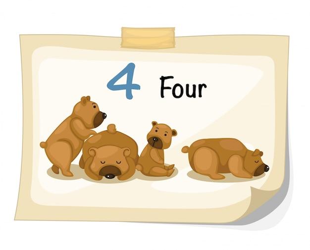 Numero cuatro oso vector