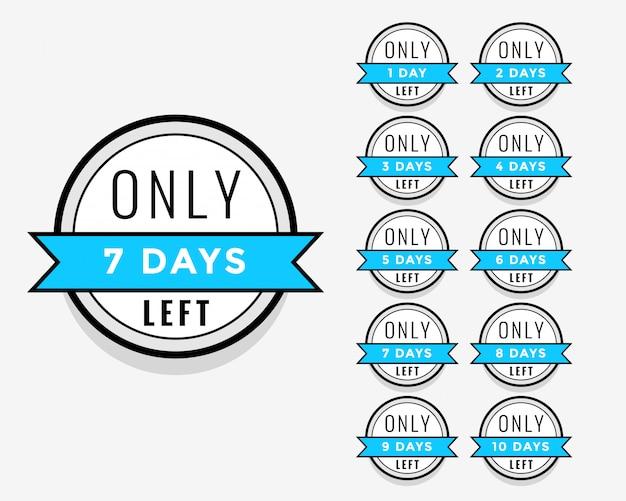 Número de días que quedan el diseño de la etiqueta adhesiva o etiqueta