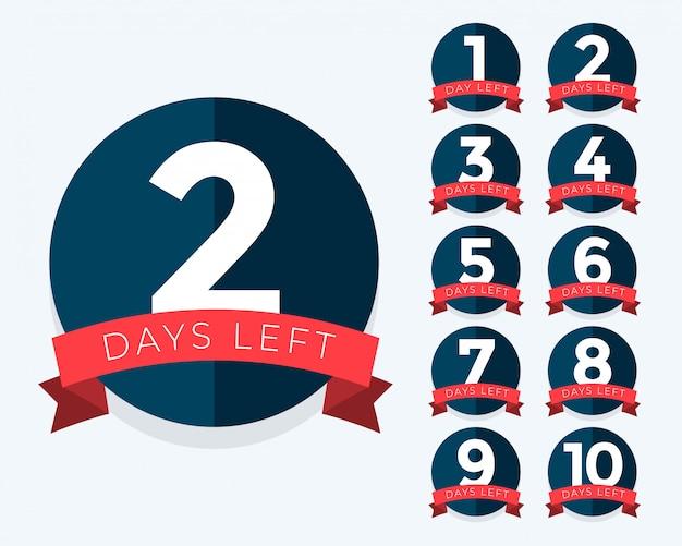 Número de días restantes contadores de distintivos