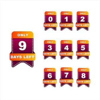 Número de días insignia para la venta o la promoción de la izquierda. colores naranja y rojo oscuro