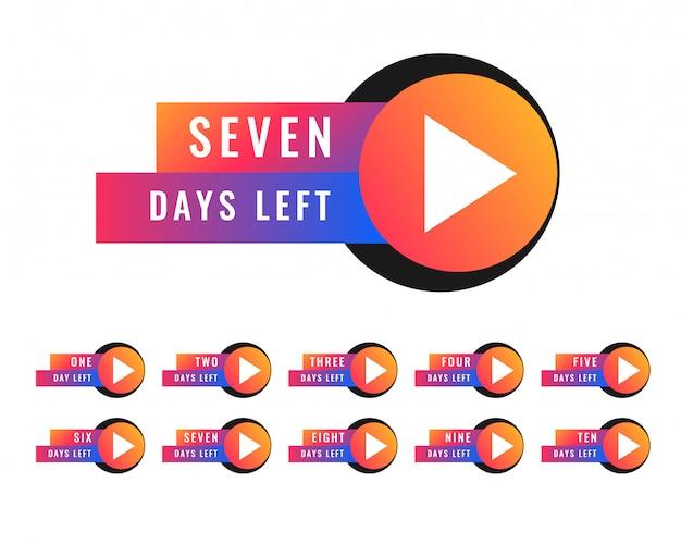 Número de días que faltan en el diseño del símbolo de la insignia