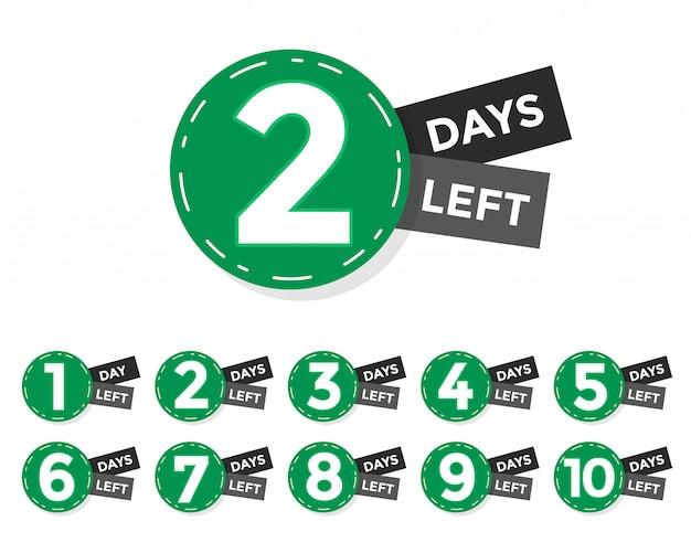 Número de días que faltan distintivo o diseño de etiqueta