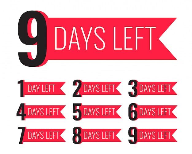 Número de días que queda la plantilla en estilo de cinta