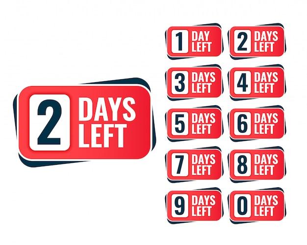 Número de días que quedan diseño de la etiqueta engomada