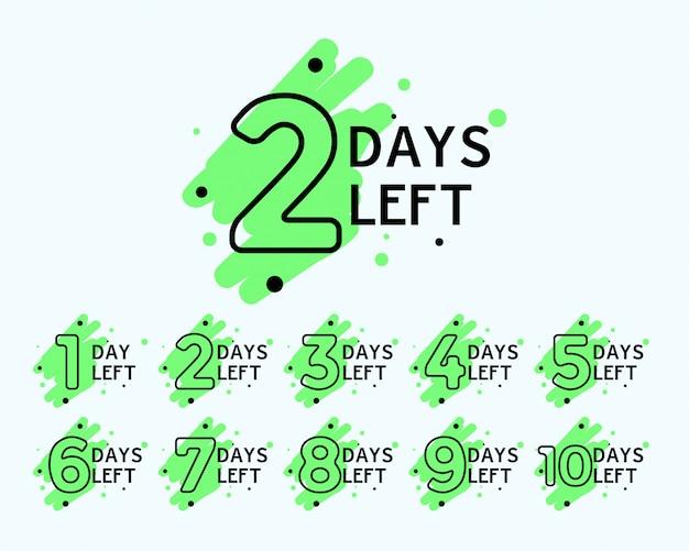 Número de días que quedan las etiquetas