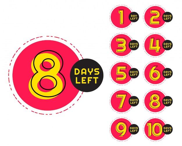 Número de días que quedan en el mostrador en estilo circular de memphis