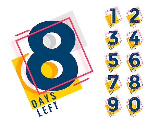 Número de días que quedan en el mostrador en estilo memphis