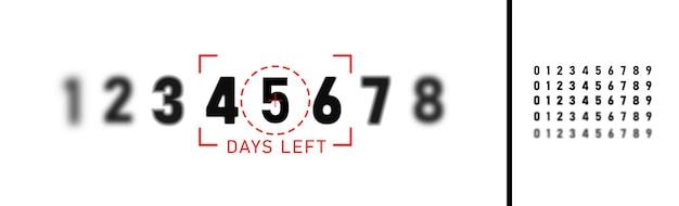 Número de días que quedan señal de venta y promoción. números negros sobre fondo blanco